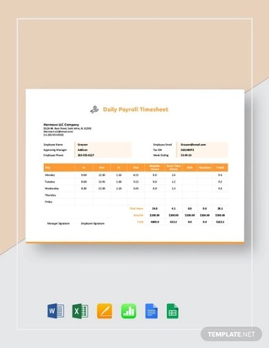 Google sheets is an alternative to microsoft excel, and it's not all that hard to use. Free 15 Payroll Timesheet Examples Templates Pdf Google Docs Google Sheets Excel Word Numbers Photoshop Examples