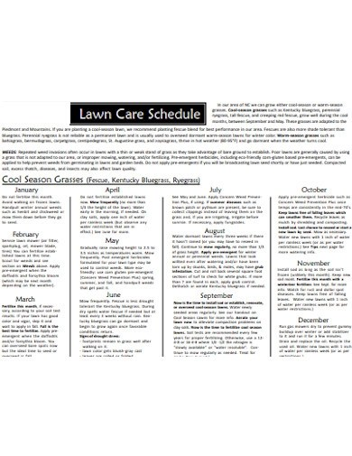 In this lawn maintenance proposal, you'll find information outlining our proposed lawn maintenance service schedule and pricing. 5 Lawn Care Schedule Examples In Pdf Examples