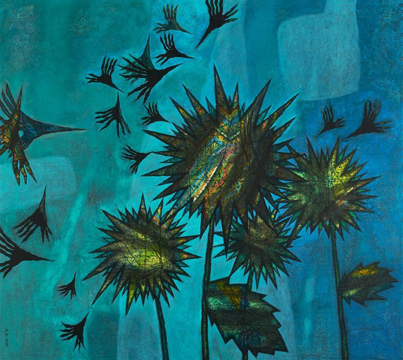 Nihad Al Turk Celebration, 2012 Mixed media on canvas  180 x 200 cm