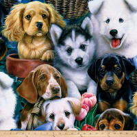 Wildlife Fleece Prints Valentine's Puppies Fleece Multi