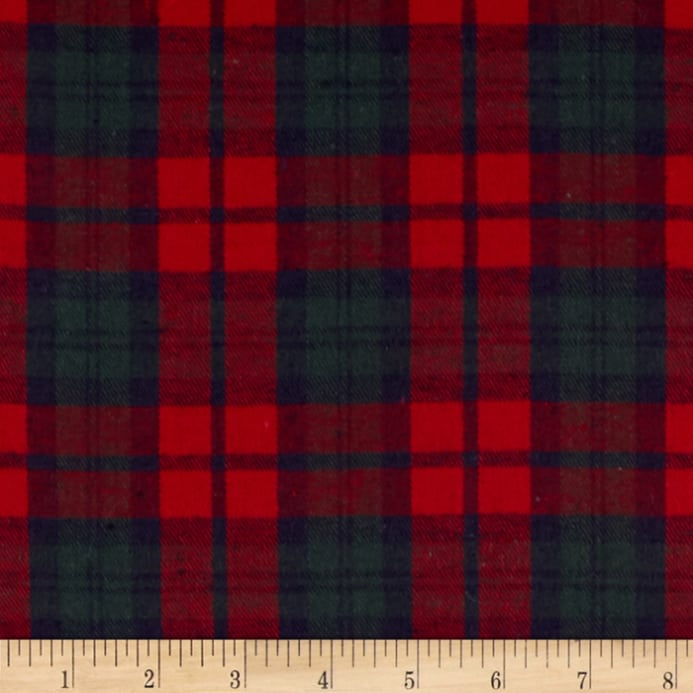 Fleece Plaid Burgundy Fabric And Green