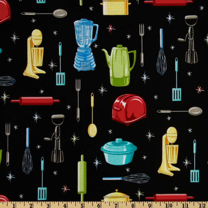 Kitchen Utensils Black  Discount Designer Fabric  Fabriccom