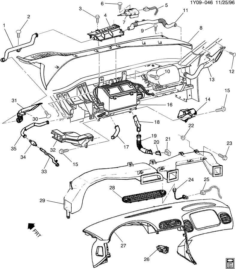 1997-2004 Chevy Corvette C5 HVAC Duct Dash Vent Used OEM