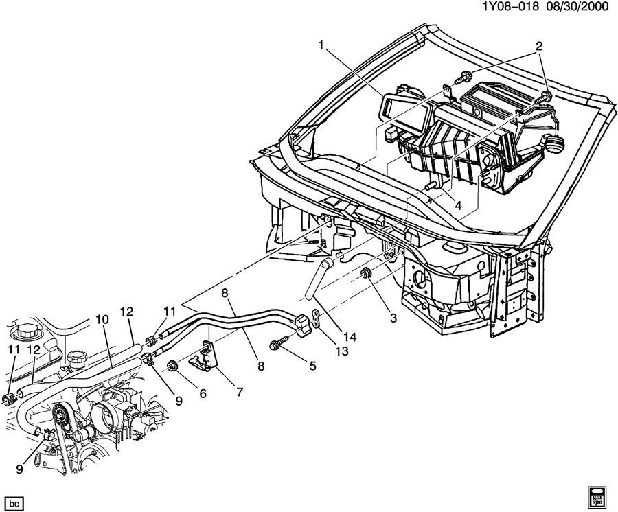1997-2004 Chevy Corvette C5 Heater Core Hoses Hard Lines