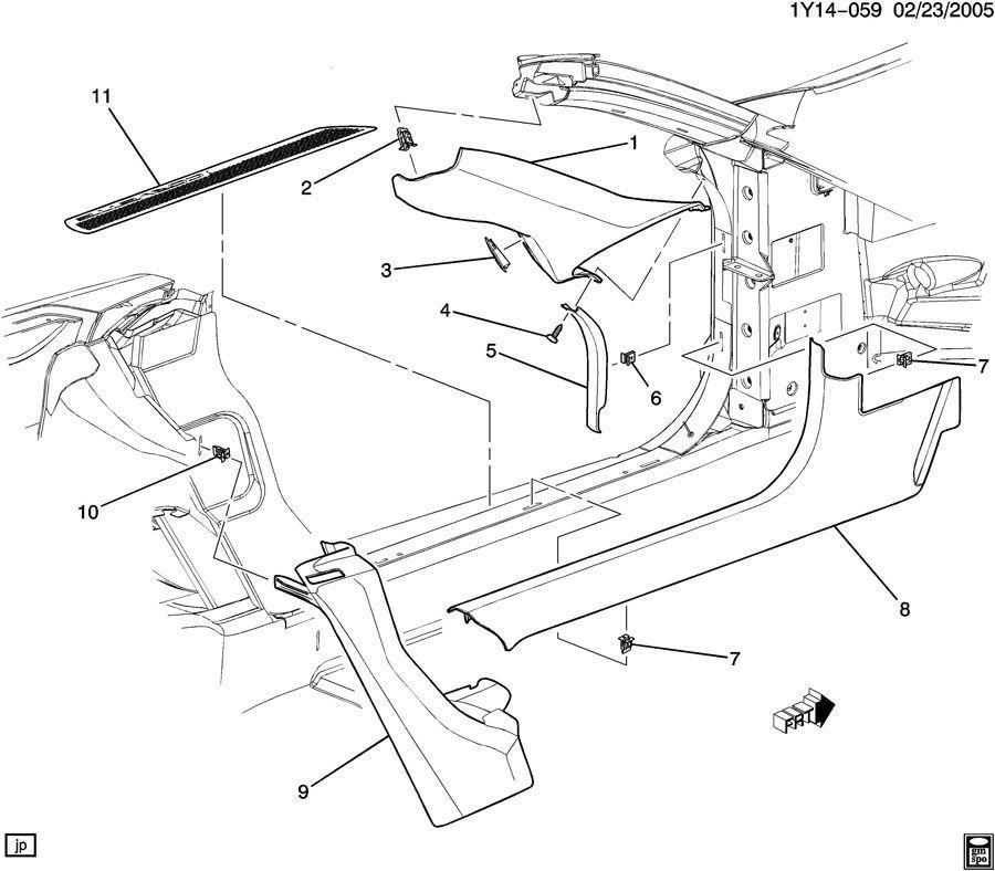 1997-2004 Chevy Corvette C5 Right Door Sill Jamb Trim