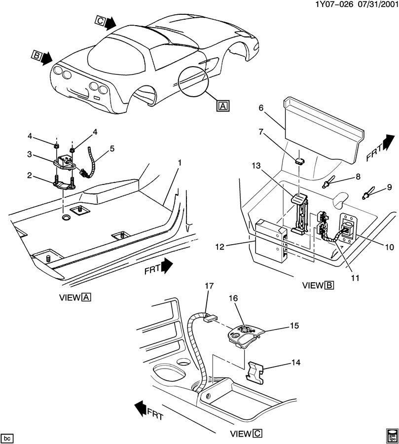 1997-2004 Chevy Corvette C5 Rear Left LH Module Cover Gray