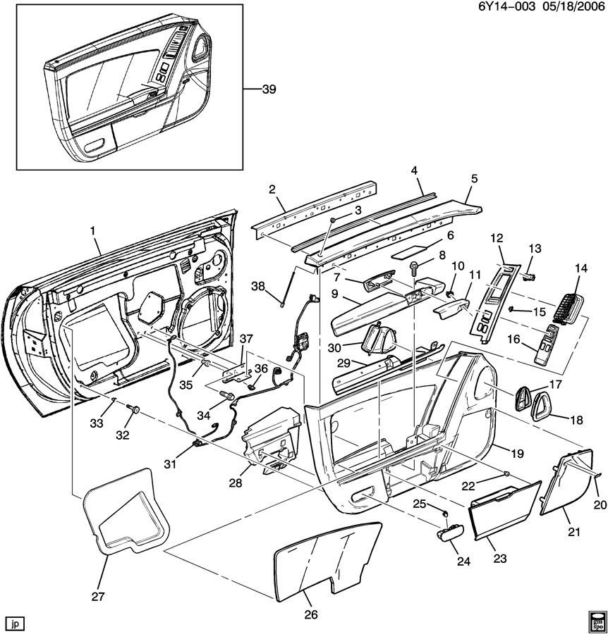 2004-2009 Cadillac XLR Left Door W/Mirror Hinges Speaker