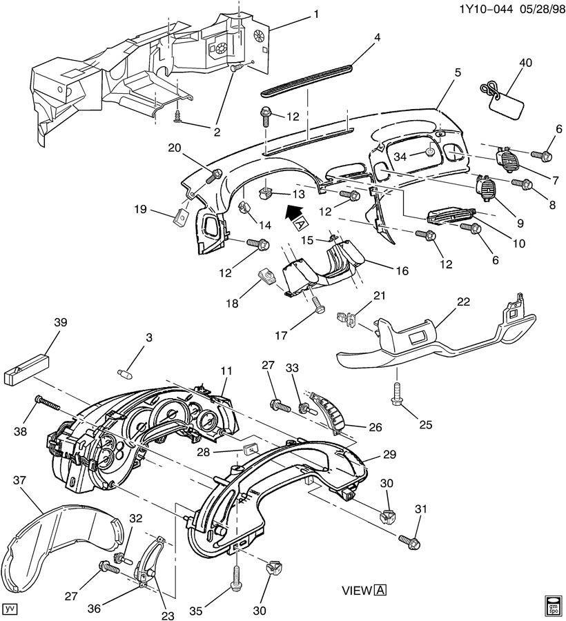 1997-2004 Chevy Corvette C5 Instrument Gauge Cluster Bezel