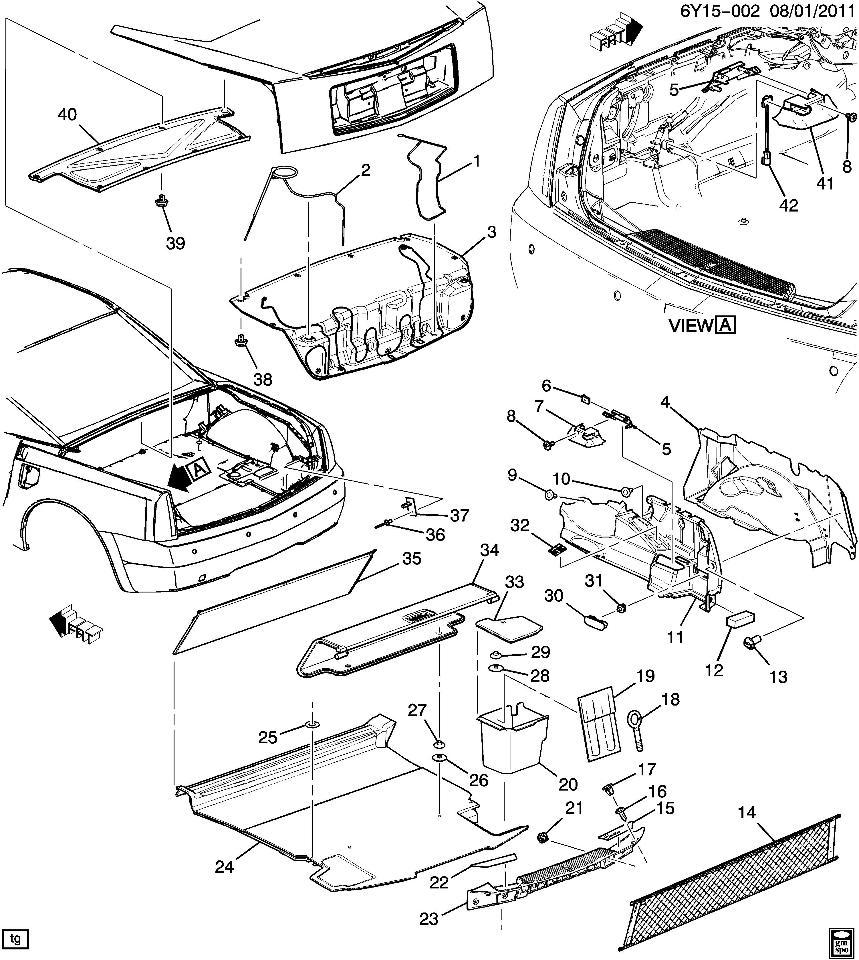 2004-2009 Cadillac XLR Trunk Overhead Carpet Liner Ebony