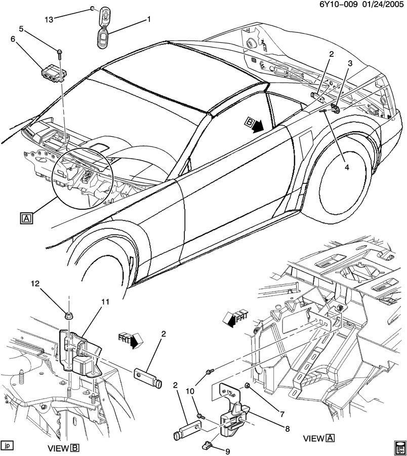 2004-2009 Cadillac XLR Right Keyless Entry Antenna Mount