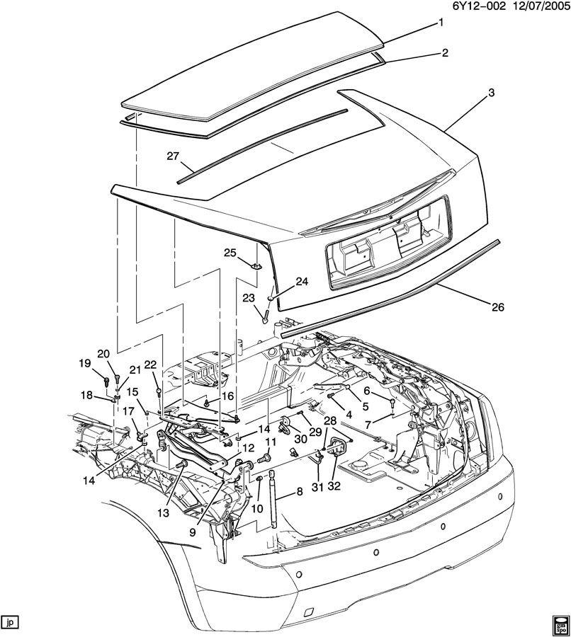 2004-2009 Cadillac XLR Trunk Seal Deflector New 10352429