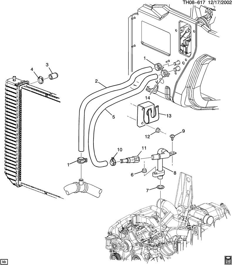 2003-2009 Topkick/Kodiak C4500 Heater Hose Outlet Black