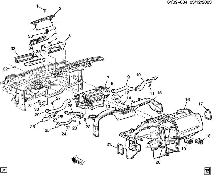 2004-2009 Cadillac XLR Air Distribution Vent Left Floor