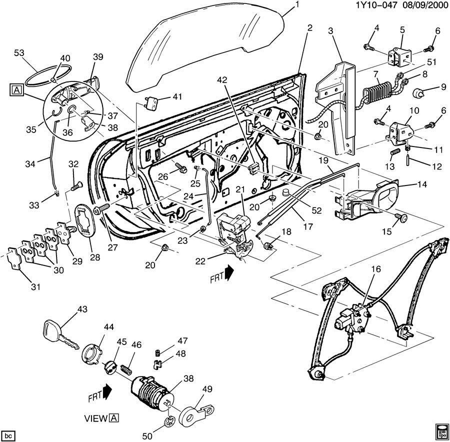 1997-2004 Chevy Corvette C5 Right RH Window Regulator W