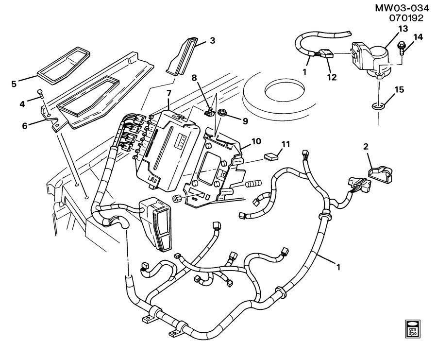 1991-1995 Chevy Corvette C4 ECU Wire Harness Cover Panel