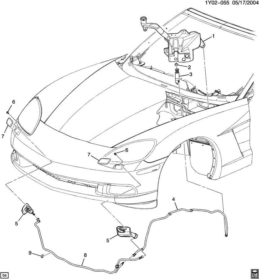 2005-2013 Corvette C6 Right Headlamp Washer Wiper Nozzle