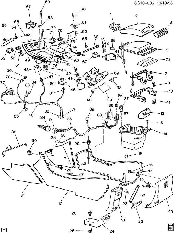 1996-1999 Oldsmobile Aurora Rear Center Console Vent