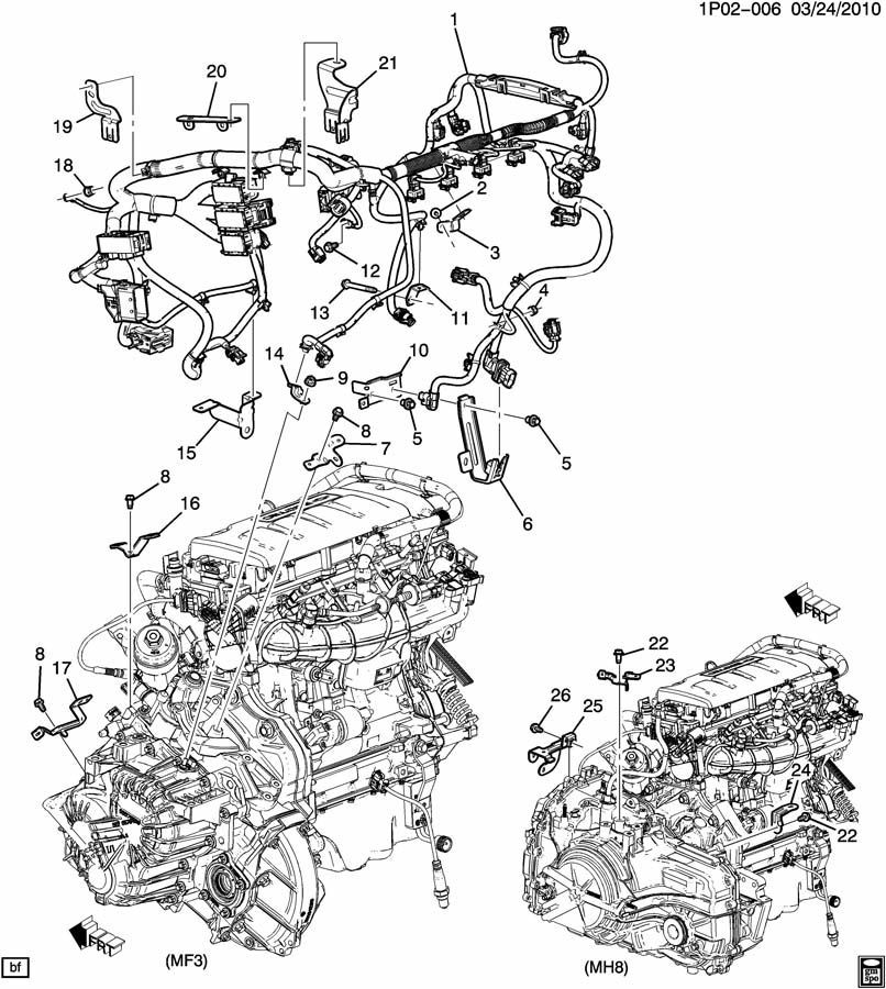 2011 Chevrolet Cruze 1.4L Turbo 6-Spd Auto Engine Wiring