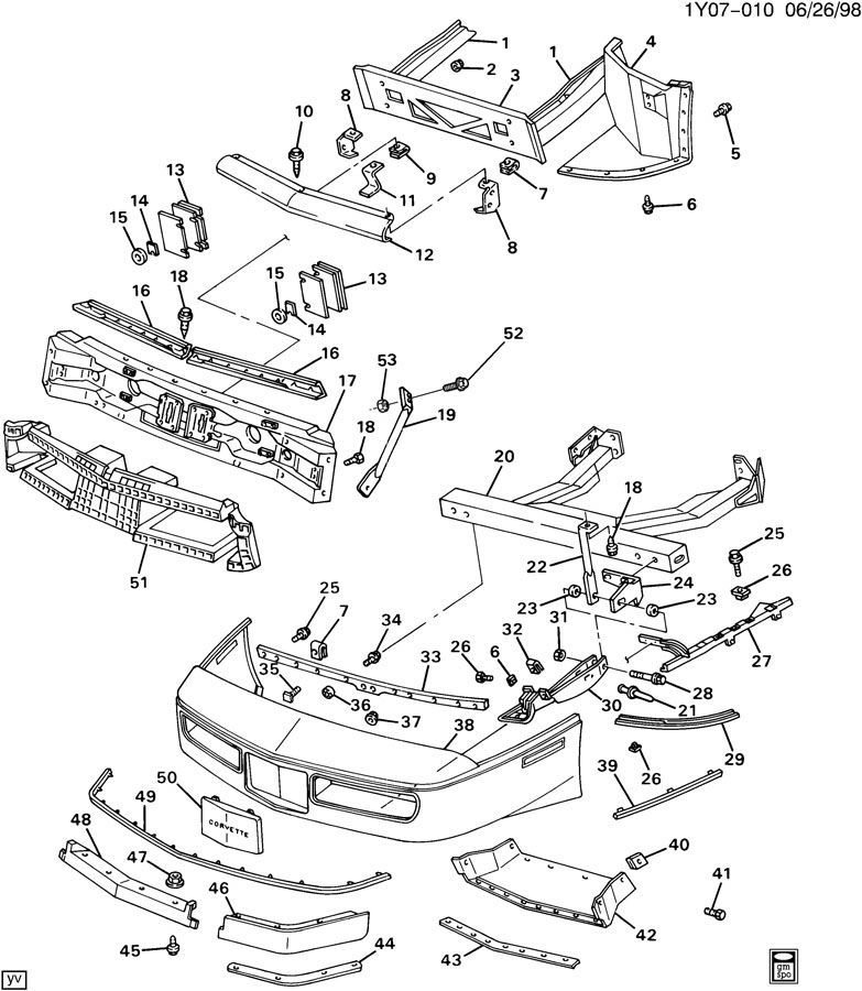1985-1990 Chevy Corvette C4 Front Left Lower Air Deflector