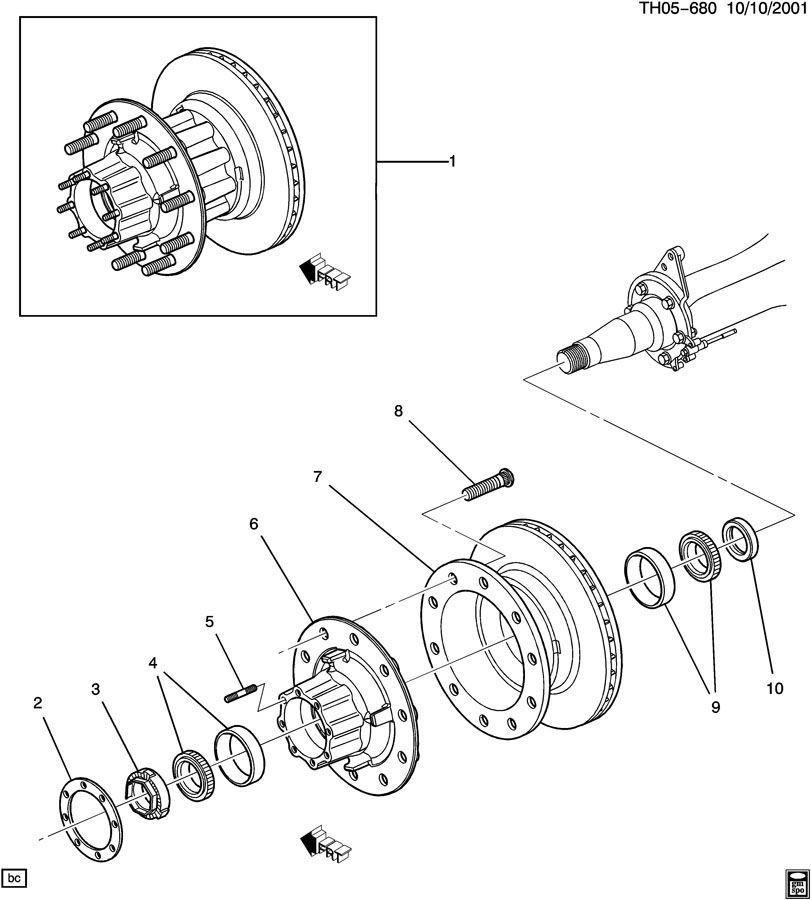 2003-2009 Topkick/Kodiak Rear Wheel Bearing Axle Hub Nut