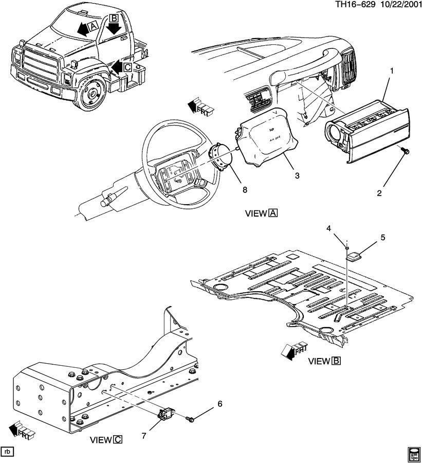 03-09 Topkick/Kodiak C4500-C8500 Airbag Contrl Module