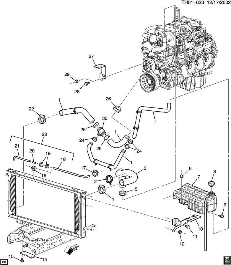 2003-2009 GMC Topkick Chevy Kodiak Engine Coolant Recovery