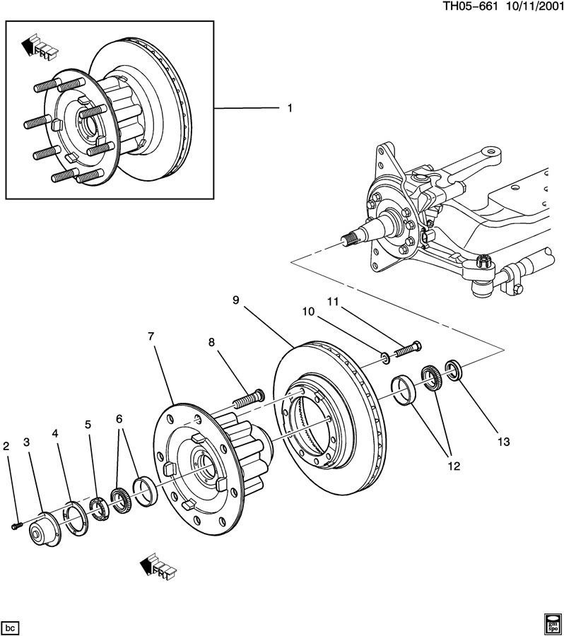 2003-09 Topkick/Kodiak Front Knuckle Spindle Axle Wheel
