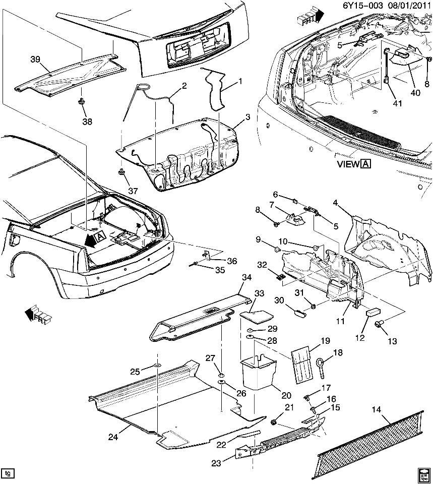 2004-2009 Cadillac XLR Trunk Floor Compartment Cover RH