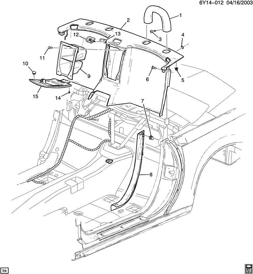 2004-09 Cadillac XLR Rear Storage Compartment W/Lid