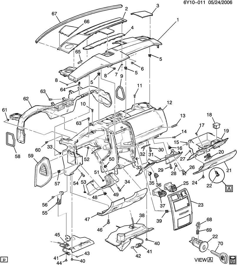 2006-2009 Cadillac XLR Instrument Panel Opening Blank Plug