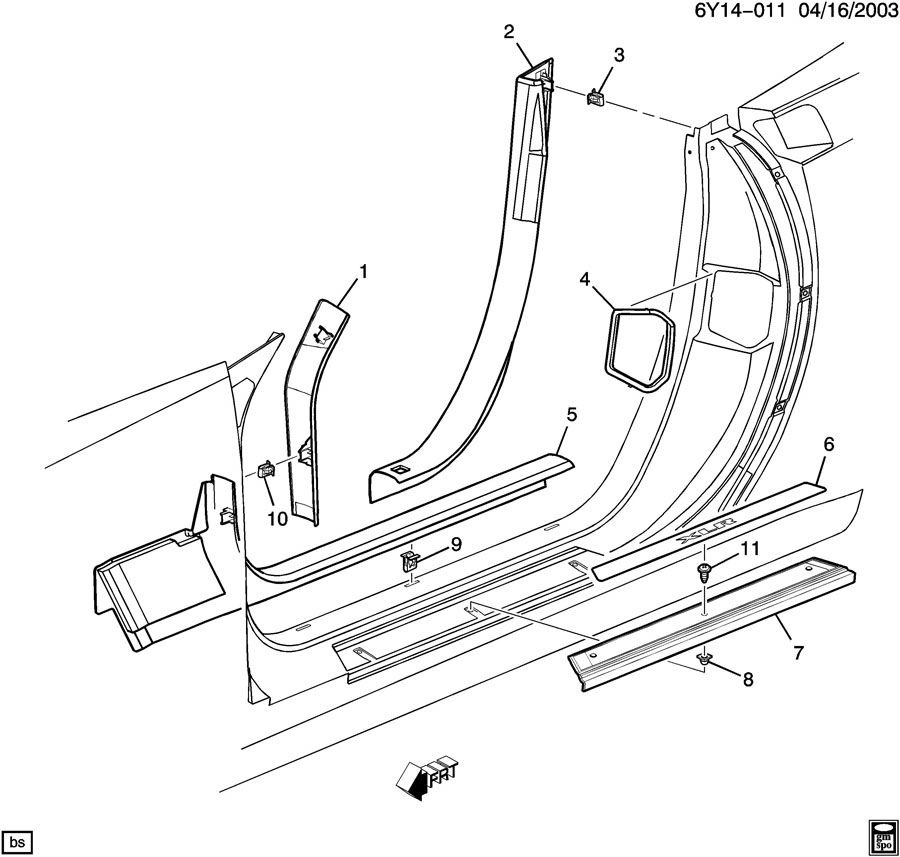 2007-2009 Cadillac XLR Platinum Edition Door Sill Metal