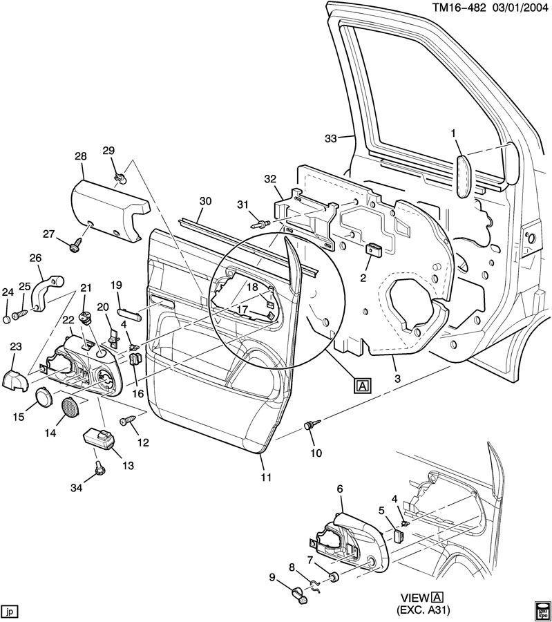 1996-05 Astro Safari Van Front Right Door Handle Pull