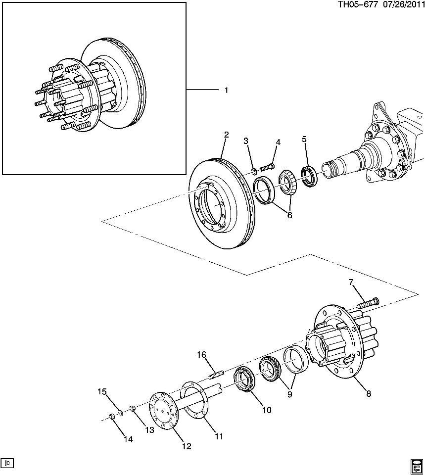 2003-09 Topkick/Kodiak Rear Axle Spindle Nut 2.5
