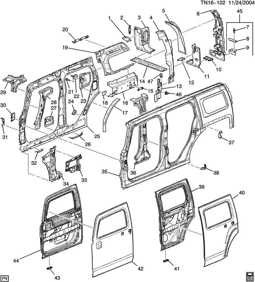 2006-2010 Hummer H3 Rear Hatch RH Reinforcement Support