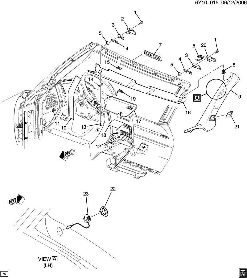 Cadillac XLR RH Passenger Side Sunshade Sunvisor Visor