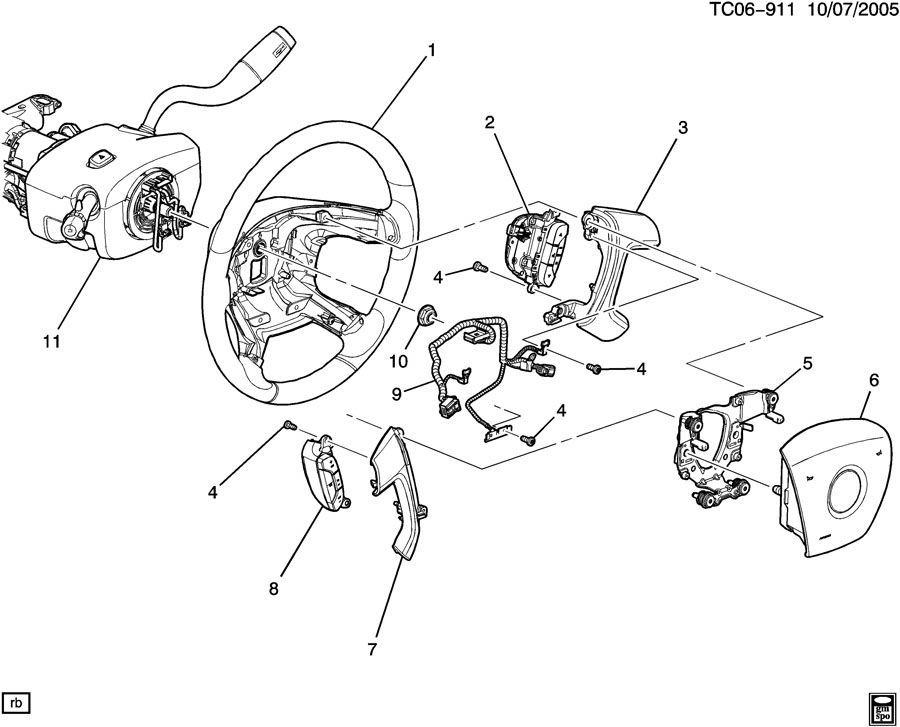 2007-2008 Saturn Outlook RH Audio Control Switch Assembly