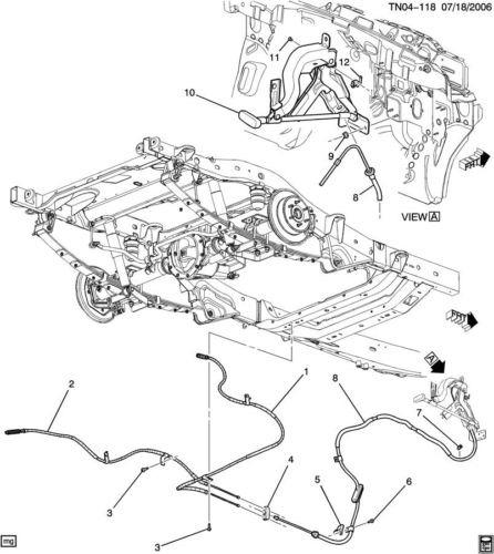 06-10 Hummer H3 RH E Emergency Park Parking Brake Cable