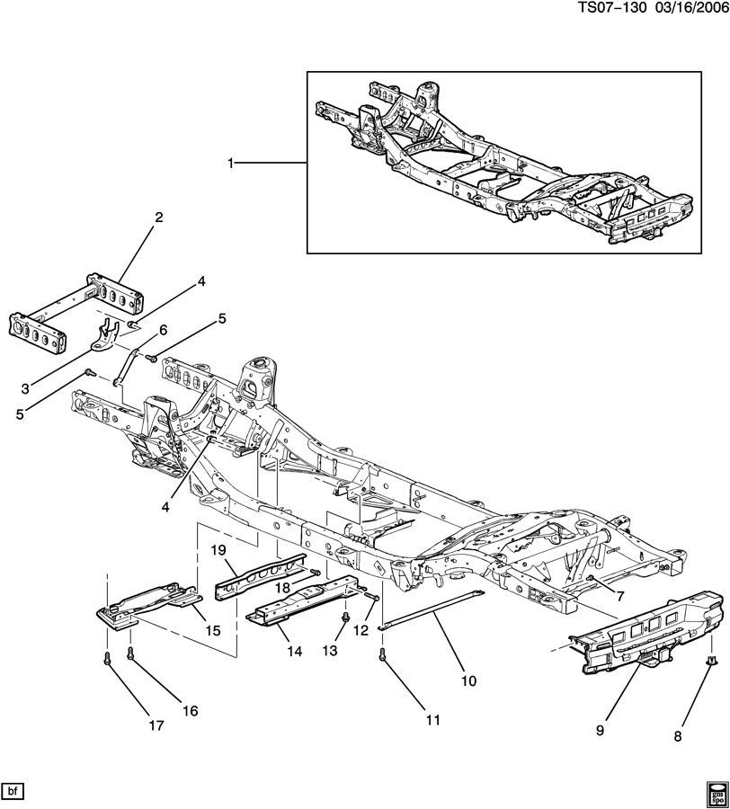 2006-2009 Chevy Trailblazer Complete Frame Assembly 2WD