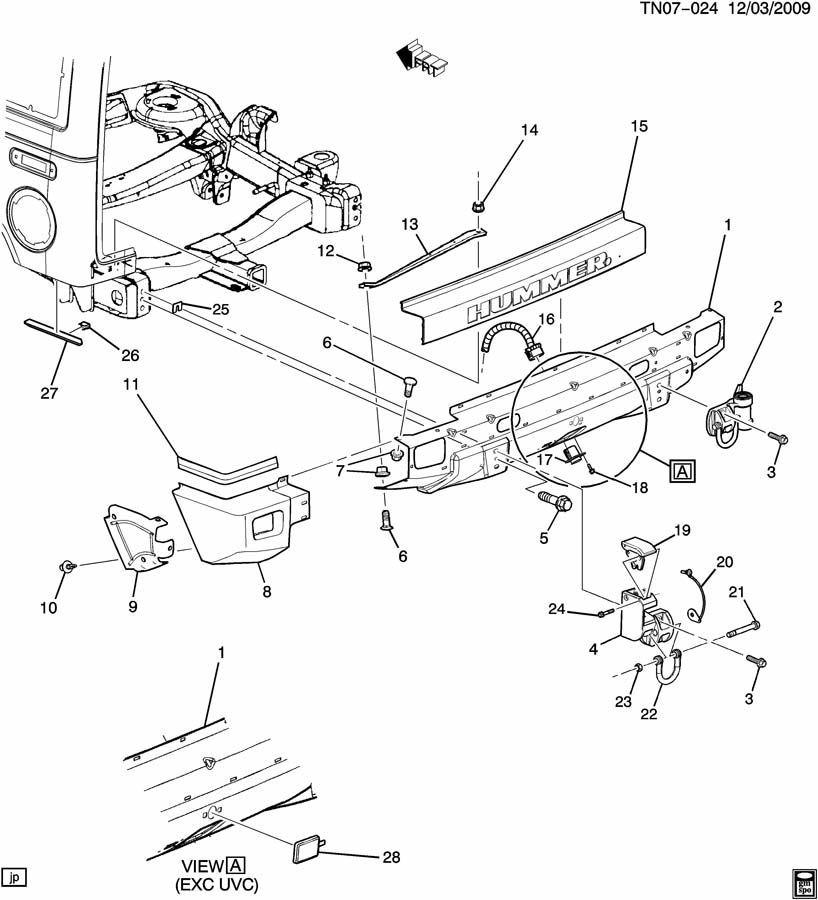 2008-2009 Hummer H2 Rear Bumper Molding Cap Trim New OEM