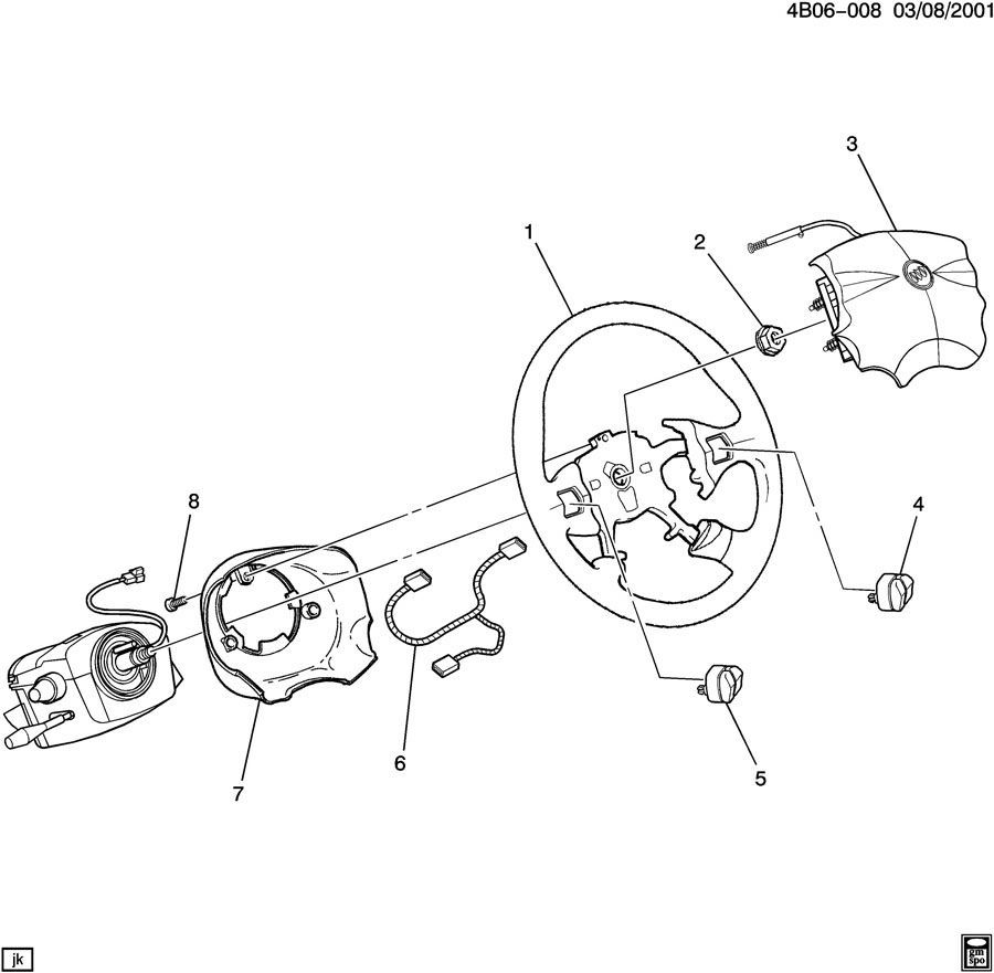 hight resolution of 2002 2007 buick rendezvous steering wheel wire harness new oem 16826102