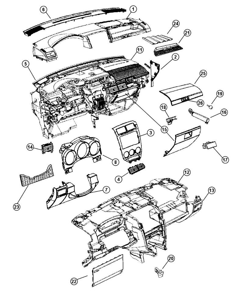 2007 Dodge Caliber Glove Box Assembly Grey New OEM