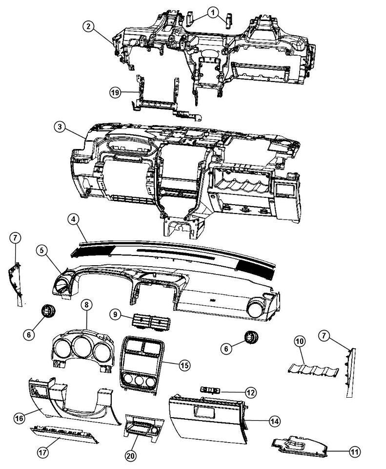 2010-2012 Dodge Caliber Glove Box Door Export Models