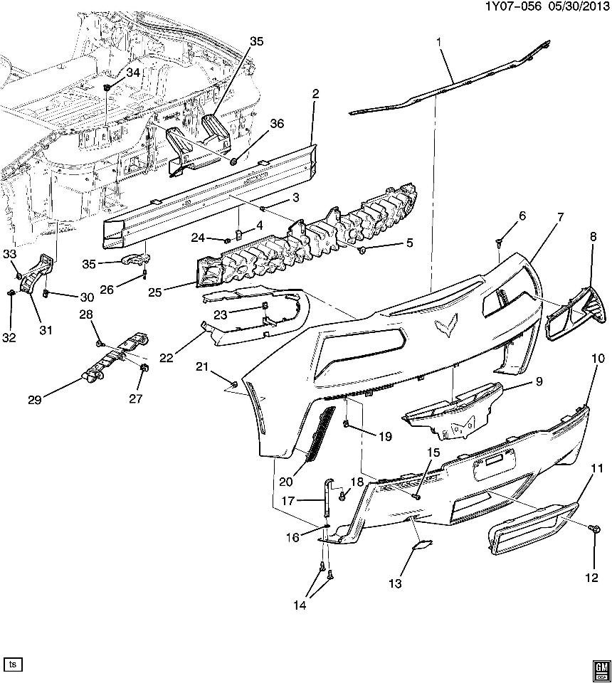 2014-2015 Chevrolet Corvette C7 Rear Bumper Valance