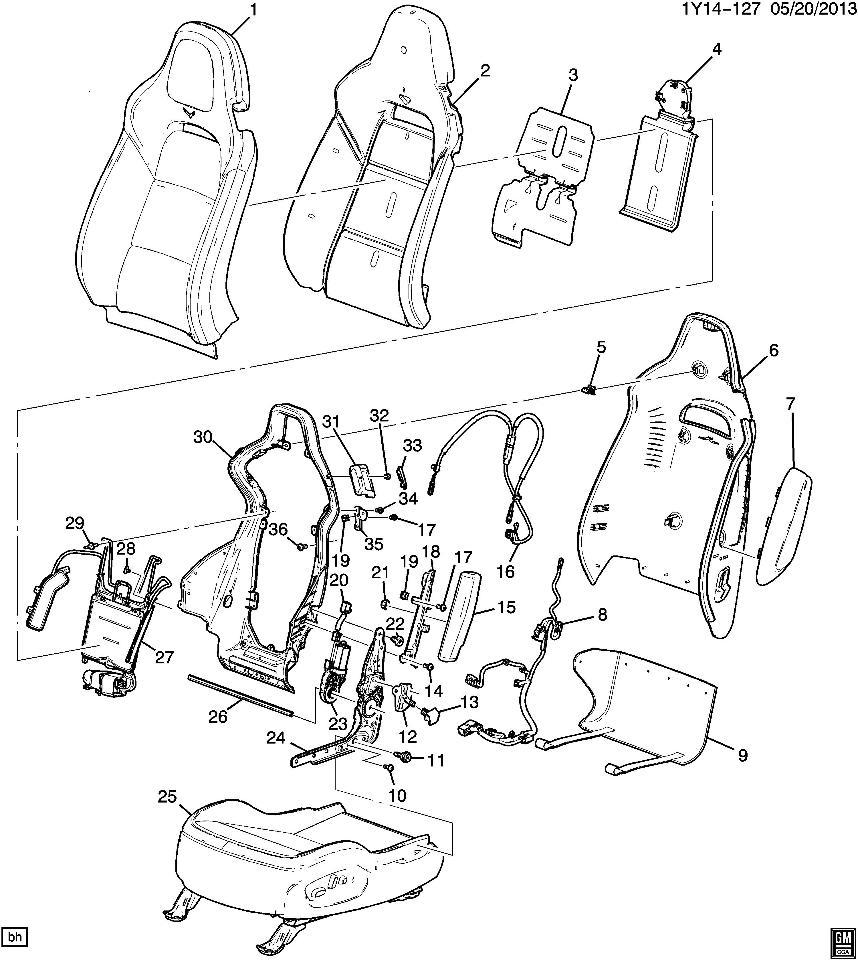 2014-2015 Chevrolet Corvette C7 LH Seat Airbag Cover Black