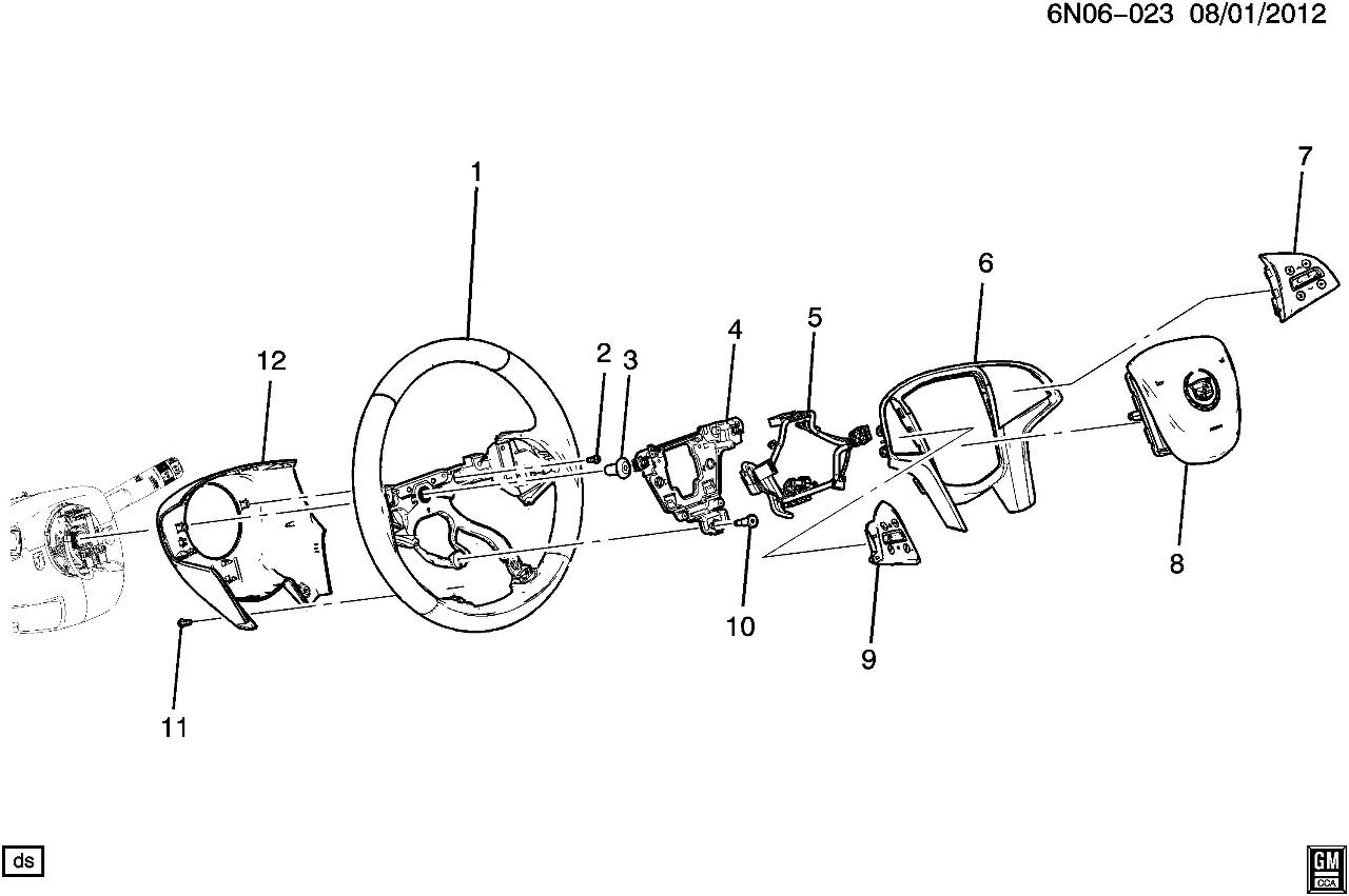 Cadillac Srx Steering Wheel Black Leather W Cc New