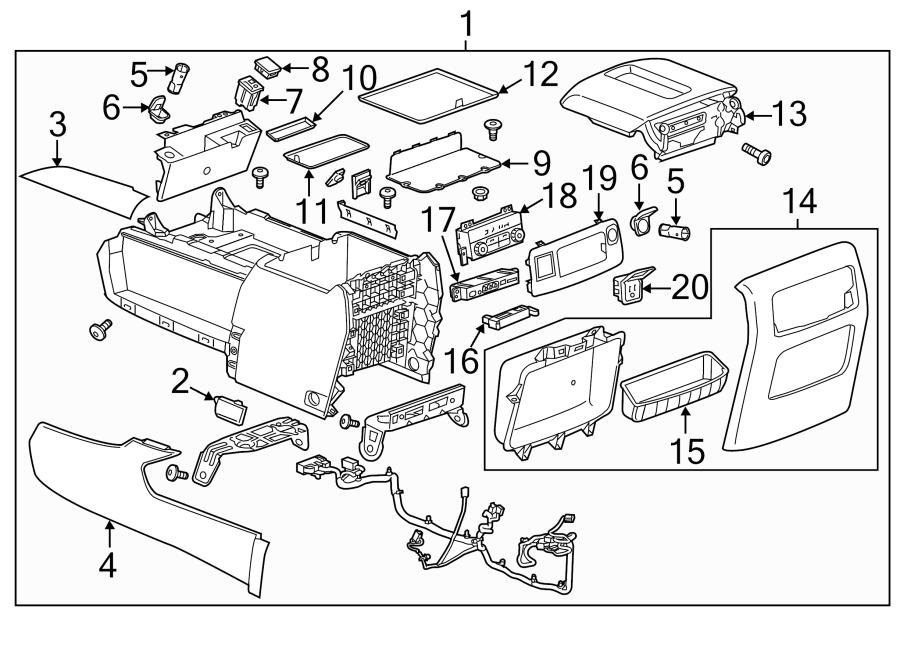 2015-2017 Rear Audio Control Panel USB SD Card RCA Jacks