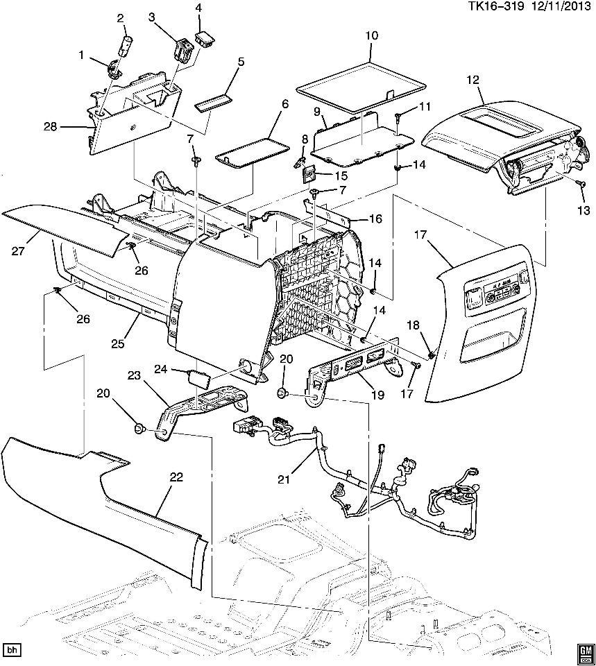 2015-2017 Cadillac Escalade Center Console Wire Harness