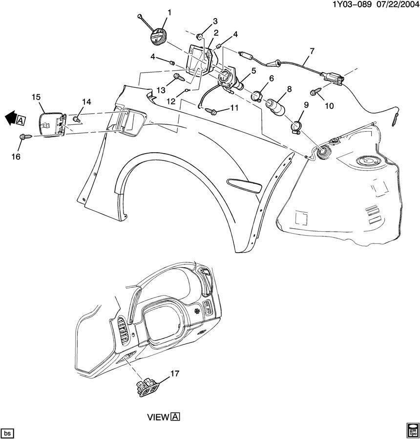 2005-2013 Chevy Corvette C6 Fuel Door Release Actuator