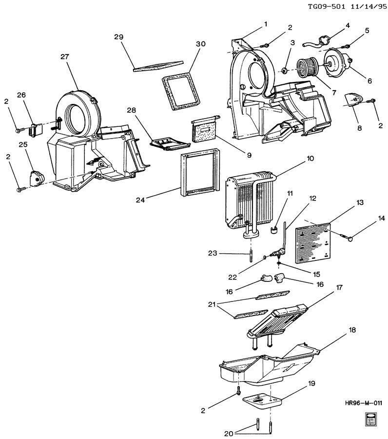 GMC Savana Chevy Express HVAC Heater A/C Core Box Assembly