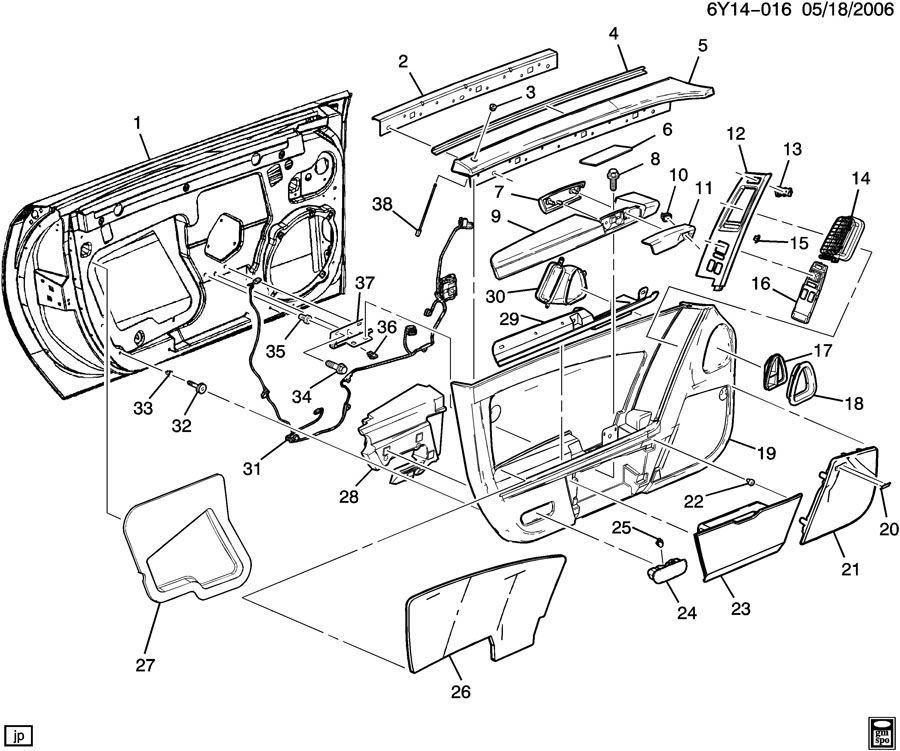 2007-2008 Cadillac XLR Left LH Incomplete Door Panel Ebony